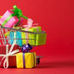 Holiday gift boxes in shopping cart