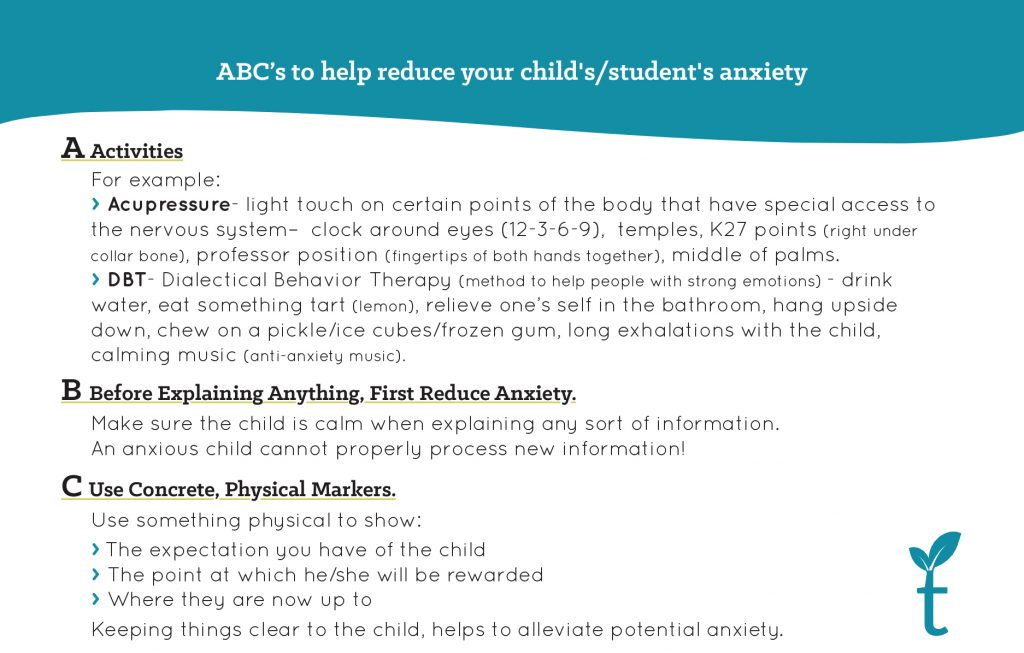 ABC's to help reduce your child's/student's anxiety